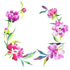 Watercolor floral wreath made of peonies Isolated on white.