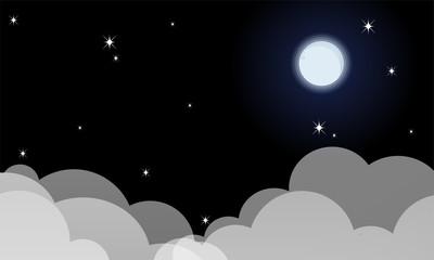 The full moon Night sky with stars.