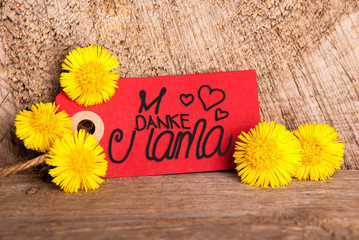 Red Label, Dandelion, Calligraphy Danke Mama Means Thank You Mom