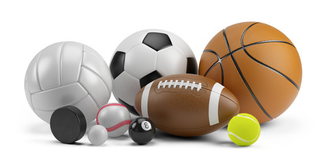 Group of Sports balls: football basketball volleyball baseball soccer tennis billiard golf ball and hockey puck isolated on white background - 3d rendering