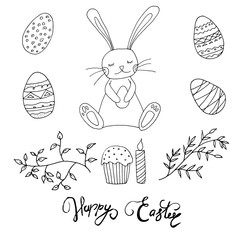 Easter concept. Bunny with eggs, cake, candle and leaves. Hand drawn style. Easter coloring book