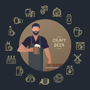 Brewer own brewery with a beer in the hand demonstrating near barrels in vector illustration plus beer icon set isolated on dark background. Template man with a beer in hand with a place for the text.
