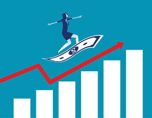 Businesswoman on flying money with graph up. Concept business vector, Growth, Start up.