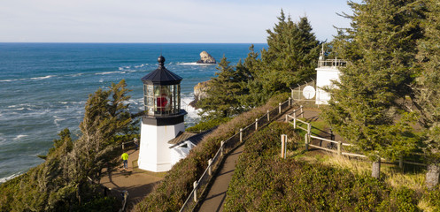 Cape Mears Lighthouse High Bluff Pacific Ocean Oregon Coast