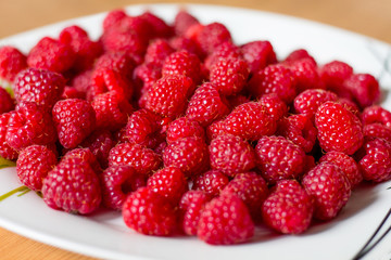 Red ripe raspberries on a white plate. The background of raspberry berries_
