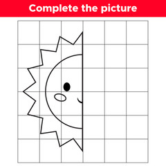 Complete the picture kawaii sun. Copy the picture. Educational game for children. Coloring book. Space day. Vector illustration.