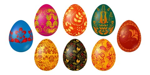 Set of colored Easter eggs with national Ukrainian painting. Items for the celebration of Easter. Vector illustrator of festive food on a white background.
