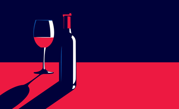 Vector illustration of a bottle and glass of red wine on the table in vintage elegant minimal style