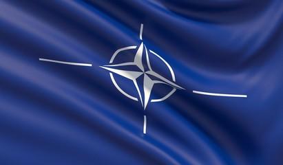 The flag of the North Atlantic Treaty Organization NATO. 3D illustration.