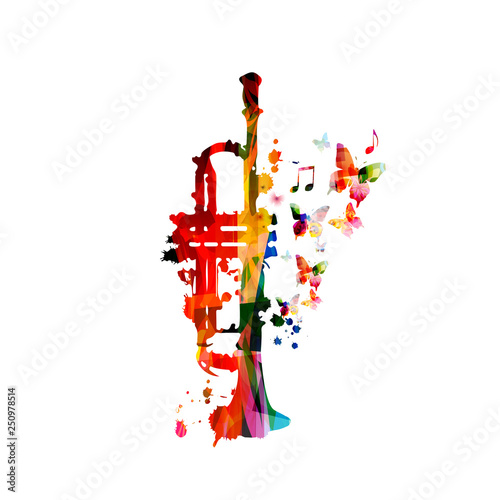 Colorful trumpet with music notes isolated vector illustration