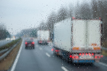 Traffic in the rain viewed from a buss as blurred image