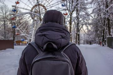 man in winter park