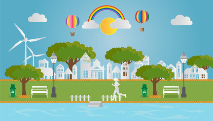 Paper art of green landscape with trees and town buildings and people relaxing in city parks. Vector illustration
