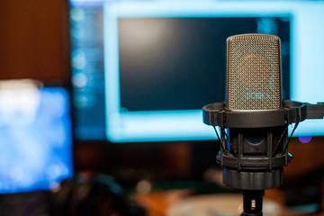 microphone on studio broadcast
