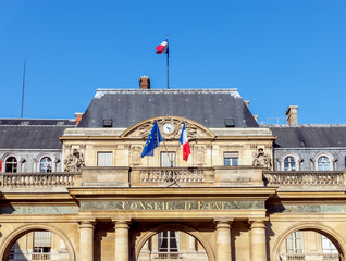 French Council of State (Conseil d'etat) located in the Palais Royal - Paris, France. It is a French public institution created in 1799 by Napoleon Bonaparte.