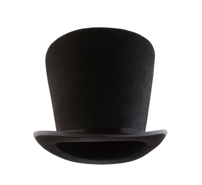 Extra tall black vintage top hat isolated on white background