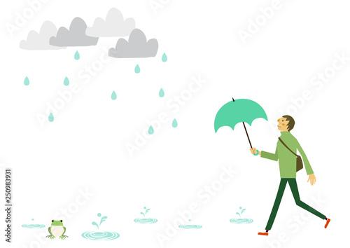 レインコートを着た人物 梅雨のシーズンのクリップアート 傘をさす