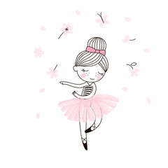 Cute little dancing ballerina girl in pink transparent skirt. Vector doodle illustration in pink colour for girlish designs like textile apparel print, wall art, poster, stickers, cards and more.
