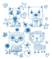 Set of funny cool fantasy animals for children coloring books or t-shirts. Hand drawn line art cartoon vector illustration