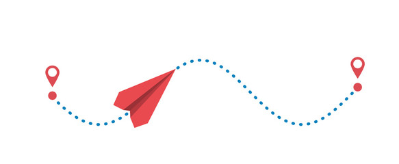 Red paper plane and its dotted path isolated on white background. Vector illustration.