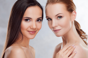 Natural beauty. Two different girls, beauty portrait.