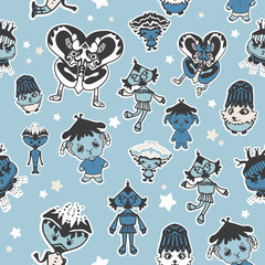 Cartoon seamless pattern with cute  creatures. Vector illustration for kids. Use for print design, surface design, fashion kids wear