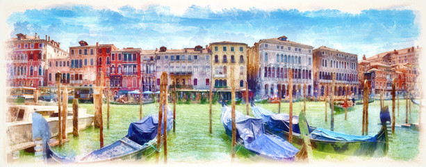 Gondolas on the Grand Canal, digital imitation of watercolor painting Wall mural