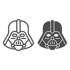 Darth Vader line and glyph icon. Star Wars vector illustration isolated on white. Space character outline style design, designed for web and app. Eps 10.