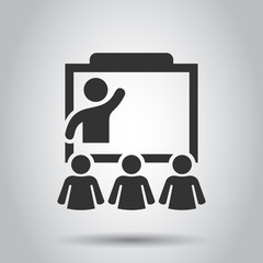 Training education icon in flat style. People seminar vector illustration on white background. School classroom lesson business concept.
