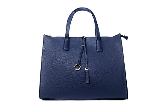 Blue female bag on white background