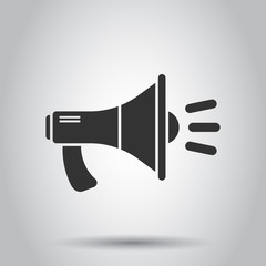 Megaphone speaker icon in flat style. Bullhorn audio announcement vector illustration on white background. Megaphone broadcasting business concept.