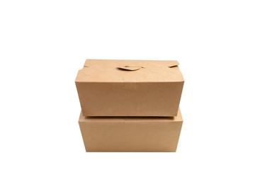 Brown paper box with clipping path . Two kraft paper box with cover stacking isolated on white background,side view .