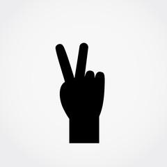 Hand gesture symbol, victory icon vector illustration.
