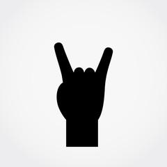 Rock-n-roll hand gesture. Heavy metal vector icon.