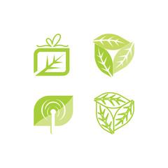 Leaf Logo Design Vector Template Set