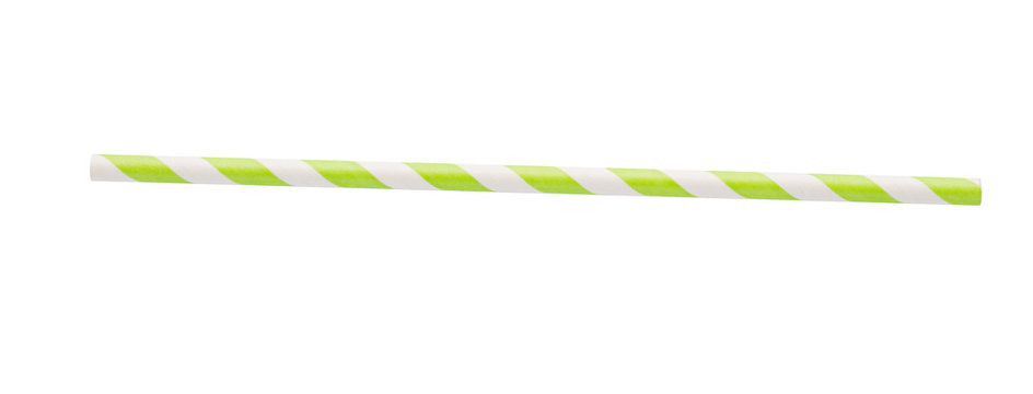 Green stripped paper straw on white background