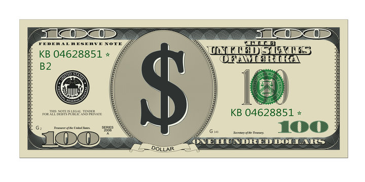 One hundred dollar bill. High quality, detailed american banknote.