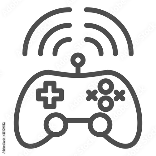 Wireless game controller line icon  Joypad vector illustration