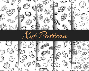 Set of vector patterns different kinds of nuts.