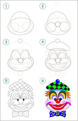 Page shows how to learn step by step to draw cute head of toy smiling clown. Developing children skills for drawing and coloring. Back to school. Printable worksheet. Vector cartoon image.