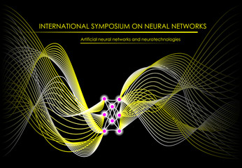 Neuron waves on black background. Stylized artificial intellect communications. Poster for International Symposium on Neural networks and nanotechnologies. Vector image.