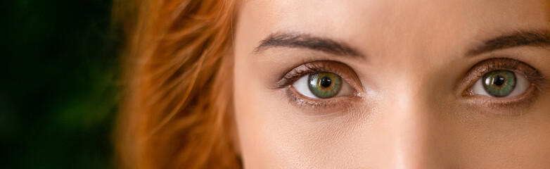 Green eyes of young redhead woman panorama Fotomurales