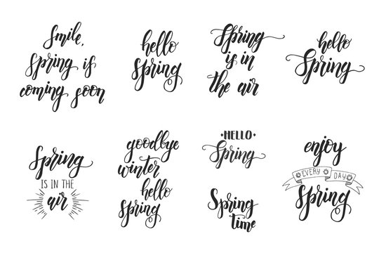 """Hand drawn lettering phrase """"Smile, spring is coming soon, Spring is in the air, goodbye winter hello spring, enjoy every day spring"""". Motivational Quote for poster, card."""