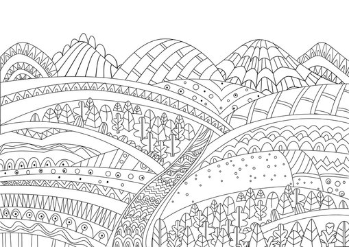 cozy mountain landscape for your coloring page