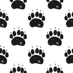 Bear paw pattern. Bear Claw seamless background. Footprint wallpaper. Vintage hand drawn silhoutte style. Stock Vector illustration isolated