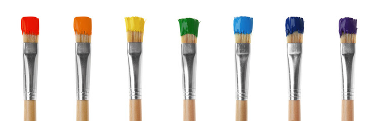 Set of colorful paint brushes on white background Wall mural