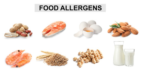Set of different products causing food allergies on white background