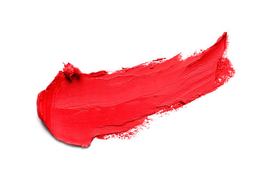 Stroke of lipstick on white background, top view