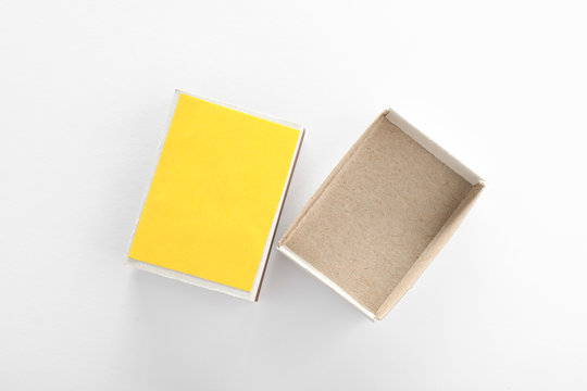 Empty matchbox on white background, top view. Space for design