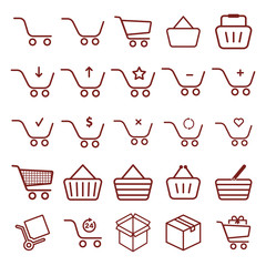 shopping cart - minimal thin line web icon set. simple vector illustration outline. concept for infographic, website or app.
